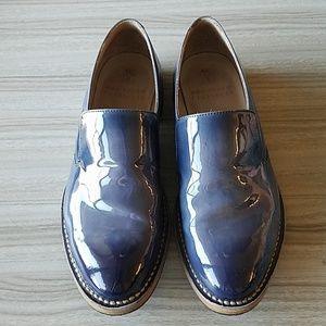 Brunello Cucinelli Navy Leather Slip Ons - 37EU